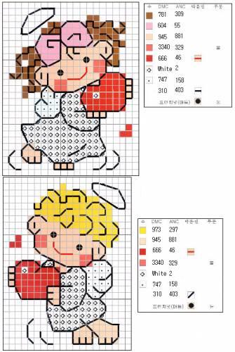 Схема вышивки · Ангелы